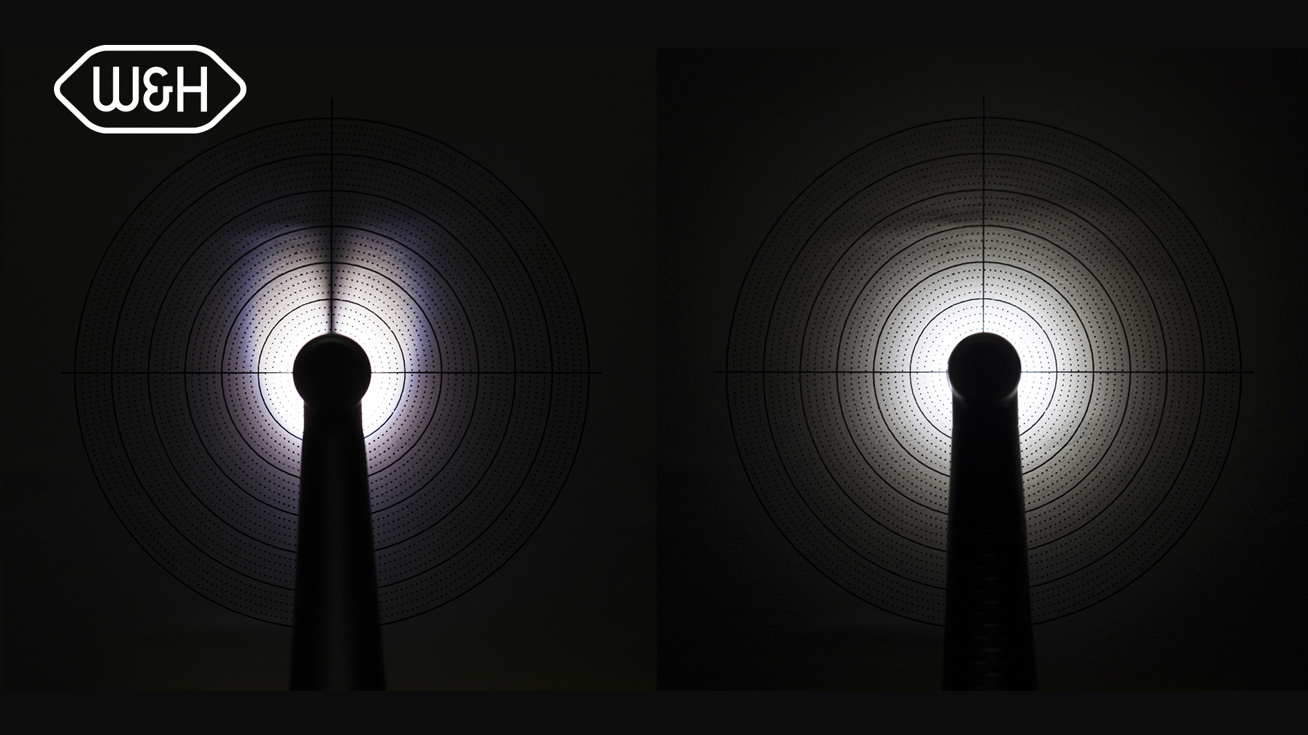 The superiority of the W&H LED concept: Compared with the competing instrument (left), the Synea Vision turbine with 5x ring LED+ (right) offers a 100% shadow-free view of the preparation site.