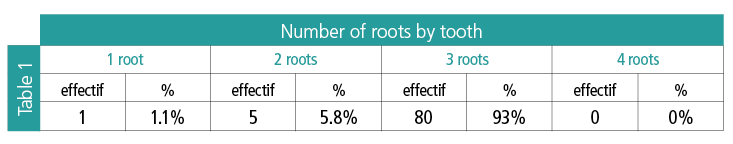 Table 1: Number of roots by tooth